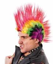 Carnavalskleding punker hanekam pruik gekleurd arnhem