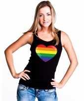 Carnavalskleding regenboog vlag hart singlet-shirt tanktop zwart dames arnhem
