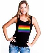 Carnavalskleding regenboog vlag singlet-shirt tanktop zwart dames arnhem