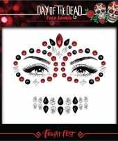 Carnavalskleding rode zwarte day of the dead sugar skull make up steentjes set arnhem