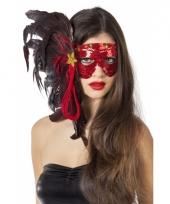 Carnavalskleding rood venetiaans oogmasker pailletten arnhem