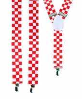 Carnavalskleding rood wit geblokte bretels arnhem