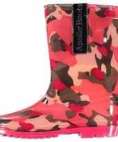 Carnavalskleding roze camouflage meiden regenlaarzen arnhem