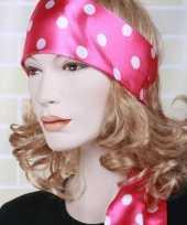 Carnavalskleding roze hoofd sjaal wit bollenmotief arnhem