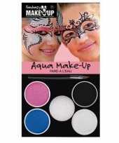 Carnavalskleding schminkset roze blauw zilver wit zwart arnhem