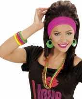 Carnavalskleding set armbanden neon kleuren arnhem