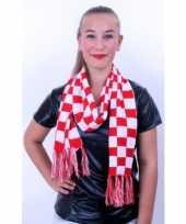 Carnavalskleding sjaal rood wit geblokt arnhem