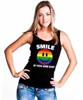 Carnavalskleding smile if you are gay emoticon tanktop singlet-shirt zwart dames arnhem