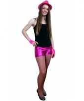 Carnavalskleding strakke hotpants metallic roze arnhem