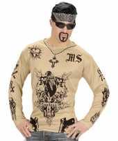 Carnavalskleding tattoo verkleed shirt gangster heren arnhem