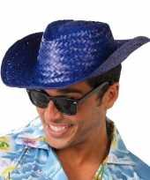 Carnavalskleding toppers blauwe cowboy strohoed volwassenen arnhem