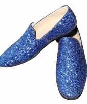 Carnavalskleding toppers blauwe glitter pailletten disco instap schoenen heren arnhem