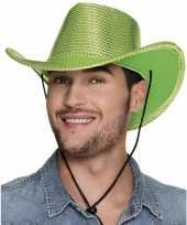 Carnavalskleding toppers groene cowboyhoed howdy pailletten volwassenen arnhem