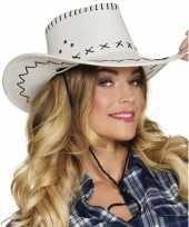 Carnavalskleding toppers witte cowboyhoed elroy lederlook volwassenen arnhem