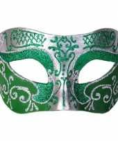 Carnavalskleding venetiaans glitter oogmasker groen zilver arnhem