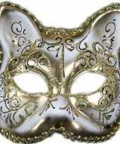 Carnavalskleding venetiaans katten poezen gezichtsmasker wit goud arnhem