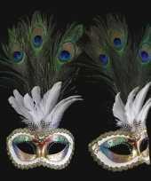 Carnavalskleding venetiaans pauwveren oogmasker gekleurd arnhem