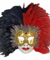 Carnavalskleding venetiaans veren masker rood zwart arnhem