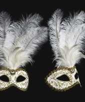 Carnavalskleding venetiaans veren oogmasker wit goud arnhem