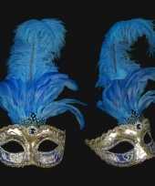 Carnavalskleding venetiaans veren oogmasker zilver blauw arnhem