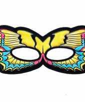 Carnavalskleding vlinder oogmasker gele zwaluwstaart kinderen arnhem