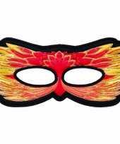 Carnavalskleding vuurvogel oogmasker rood geel kinderen arnhem