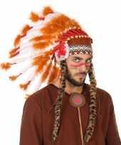 Carnavalskleding wit oranje luxe indianen tooi heren arnhem