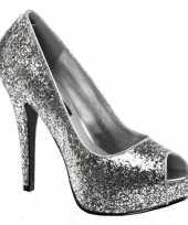 Carnavalskleding zilveren glitter peep toe pumps arnhem