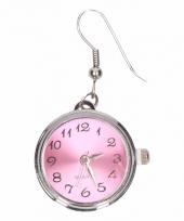 Carnavalskleding zilveren oorbellen roze klok chunk arnhem