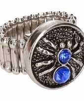 Carnavalskleding zilveren ring blauwe spin chunk arnhem