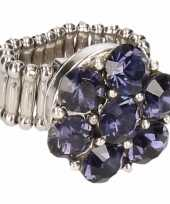 Carnavalskleding zilveren ring blauwe steentjes chunk arnhem