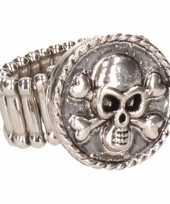Carnavalskleding zilveren ring doodshoofd chunk arnhem