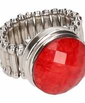 Carnavalskleding zilveren ring rode steen chunk arnhem
