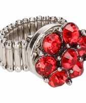 Carnavalskleding zilveren ring rode steentjes chunk arnhem