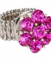 Carnavalskleding zilveren ring roze steentjes chunk arnhem