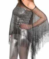 Carnavalskleding zilveren visnet poncho omslagdoek stola dames arnhem