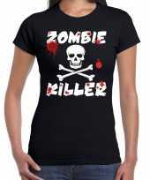 Carnavalskleding zombie killer halloween t-shirt zwart dames arnhem
