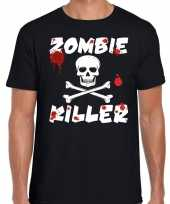 Carnavalskleding zombie killer halloween t-shirt zwart heren arnhem