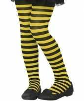 Carnavalskleding zwart gele verkleed panty kinderen arnhem