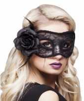 Carnavalskleding zwart oogmasker roos dames arnhem
