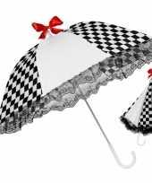 Carnavalskleding zwart wit geblokte paraplu arnhem